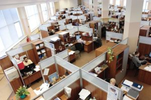employees working in an open office environment